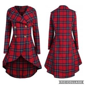Plaid Double Breasted High Low Jacket